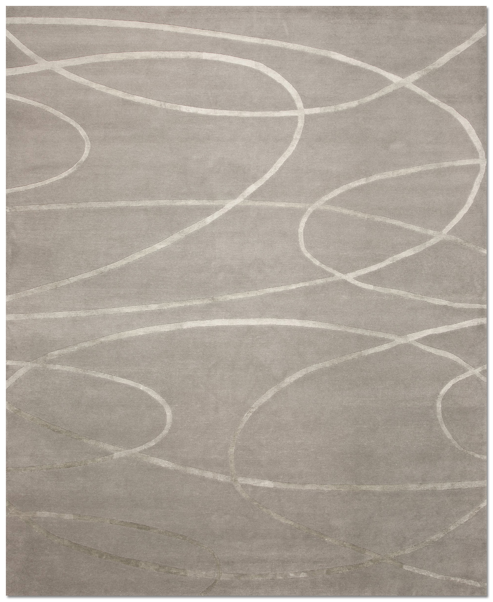 La Firma Silk And Wool Area Rug In Platinum Colourway