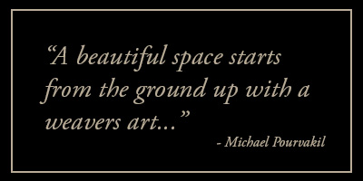 a beautiful space starts from the ground up with a weavers art...
